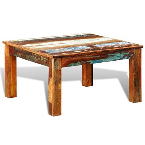 vidaXL Teak Massivholz Antik Retro Couchtisch Sofa Beistelltisch Truhe Vintage