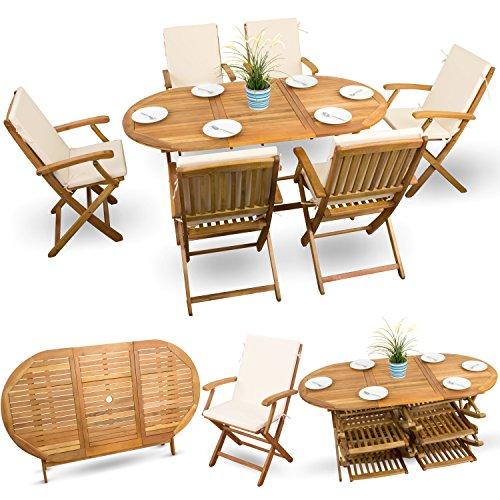13-tlg Gartenmöbel Set Holzmöbel Gartenmöbel Essgarnitur Sitzgruppe Holz Akazie geölt # 6x Klappstuhl # 1x Klapptisch # 6x Sitz Auflagen # creme-weiss
