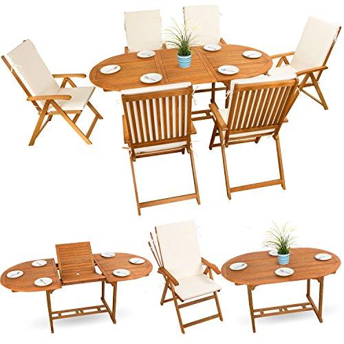 13-tlg Sitzgruppe Gartenmöbel Set Holzmöbel Essgarnitur Holz Sitzgarnitur Akazie geölt # 6x verstellbarer Klappstuhl # 1x ausziehbarer Klapptisch # 6x Sitz Auflagen # creme-weiss