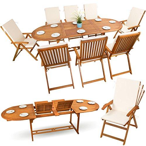 17-tlg Gartenmöbel Sitzgruppe Set Holzmöbel Sitzgarnitur Essgarnitur Holz Akazie geölt # 8x verstellbarer Klappstuhl # 1x ausziehbarer Klapptisch # 8x Sitz Auflagen # creme-weiss