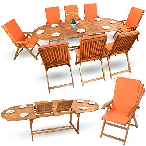 17-tlg Sitzgruppe Gartenmöbel Set Holzmöbel Essgarnitur Holz Sitzgarnitur Akazie geölt # 8x verstellbarer Klappstuhl # 1x ausziehbarer Klapptisch # 8x Sitz Auflagen # orange
