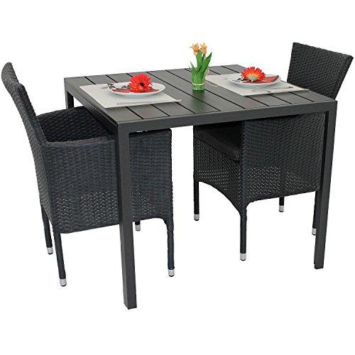 3tlg gartengarnitur balkonmbel set polywood aluminium tisch 90x90cm stapelbare polyrattan sessel. Black Bedroom Furniture Sets. Home Design Ideas