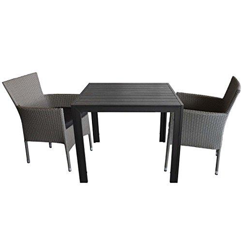 3tlg. Gartengarnitur Gartentisch Polywood 90x90cm + 2x stapelbare Polyrattan Sessel grau-meliert inkl. Sitzkissen schwarz Sitzgruppe Sitzgarnitur Gartenmöbel Balkonmöbel Set
