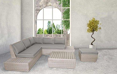 4-teiliges Lounge-Set, Loungeset, Loungemöbel, Gartenloungemöbel, Rattanlounge, Gartengarnitur, Gartensitzgruppe, Loungebank, Loungetisch, Loungesofa outdoor, Rattan