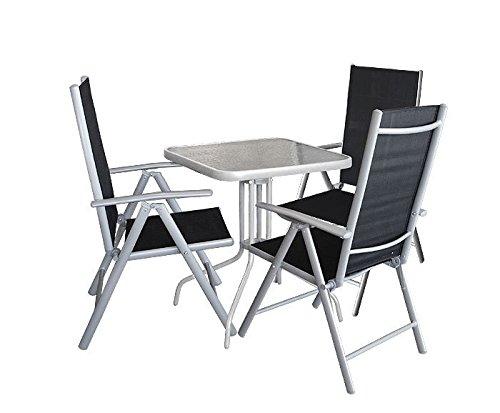 4tlg. Gartengarnitur Balkonmöbel Gartenmöbel Set Bistrotisch 60x60cm mit Tischglasplatte Glastisch Hochlehner Klappstuhl Rückenlehne 7-fach verstellbar Sitzgruppe