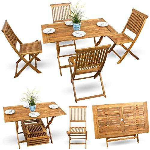 5 tlg balkonset balkonm bel gartenstuhl holz terrassen set bistroset gartenm bel akazie ge lt. Black Bedroom Furniture Sets. Home Design Ideas