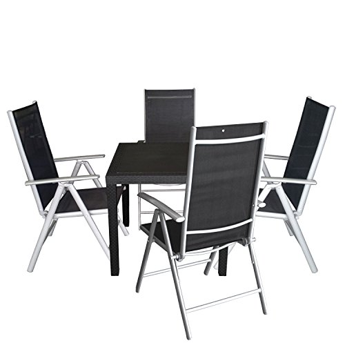 5tlg balkonm bel set sitzgruppe vollkunststoff gartentisch rattan optik 79x79cm hochlehner mit. Black Bedroom Furniture Sets. Home Design Ideas