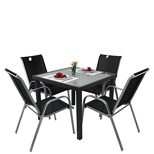 5tlg bistrogarnitur bistro set balkonm bel aluminium bistrotisch glastisch 90x90cm gartenstuhl. Black Bedroom Furniture Sets. Home Design Ideas