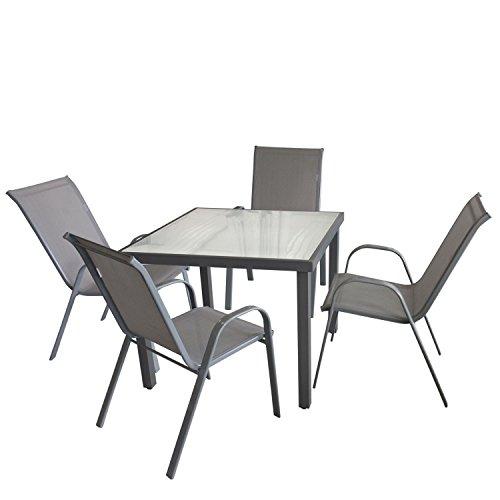 Multistore 2002 5tlg. Gartengarnitur Glastisch, Aluminiumrahmen, Tischglasplatte satiniert, 90x90cm + 4x Stapelstuhl, Textilenbespannung, Grau/Bistrogarnitur Gartenmöbel Balkonmöbel Set