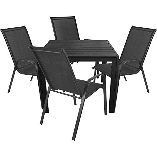 5tlg. Gartenmöbel Balkonmöbel Set Sitzgruppe Sitzgarnitur Gartenganitur - Gartentisch 90x90cm + Stapelstuhl Gartenstuhl stapelbar mit Textilenbespannung