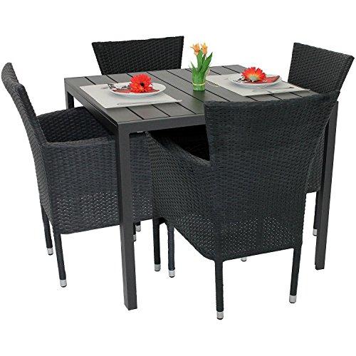 5tlg gartenm bel set aluminium polywood tisch 90x90cm. Black Bedroom Furniture Sets. Home Design Ideas