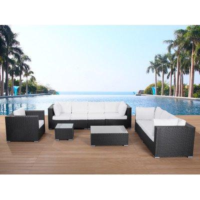 Gartenmöbel schwarz - Rattan Lounge - Sitzgruppe - Gartenset - MAESTRO