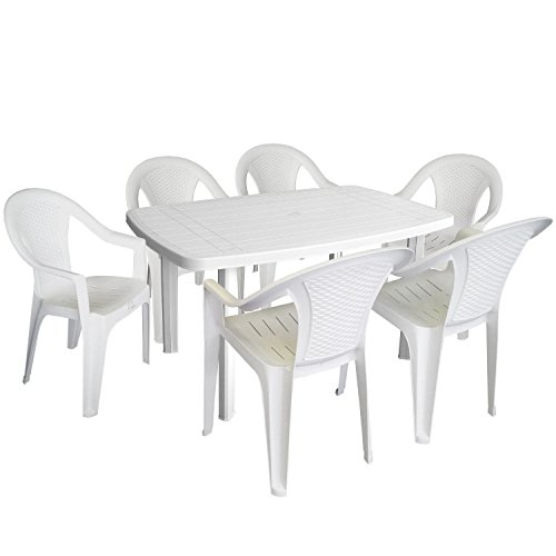 7tlg Campingmöbel Gartenmöbel Set Vollkunststoff 138x87cm Gartentisch rechteckig Stapelstuhl Gartenstuhl Vollkunststoff Sitzgruppe Gartengarnitur Weiß