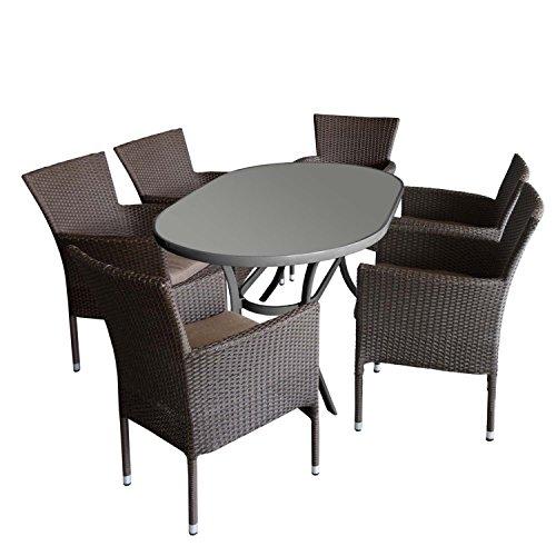 7tlg. Gartengarnitur Aluminium Gartentisch mit ovaler Tischglasplatte geriffelt 140x90cm + 6x Gartensessel, stapelbar, Polyrattanbespannung braun-meliert, inkl Sitzkissen braun - Rattansessel Gartenmöbel Set Sitzgarnitur