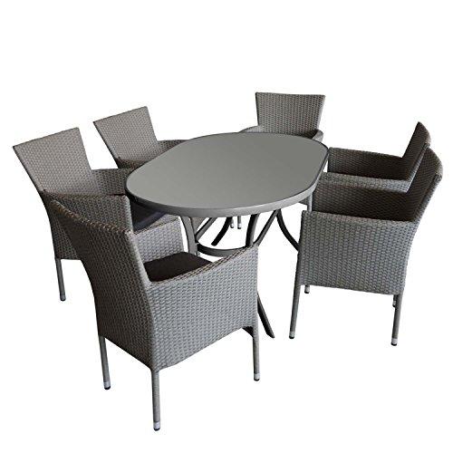 7tlg. Gartengarnitur Aluminium Gartentisch mit ovaler Tischglasplatte geriffelt 140x90cm + 6x Gartensessel, stapelbar, Polyrattanbespannung grau-meliert, inkl Sitzkissen schwarz - Rattansessel Gartenmöbel Set Sitzgarnitur