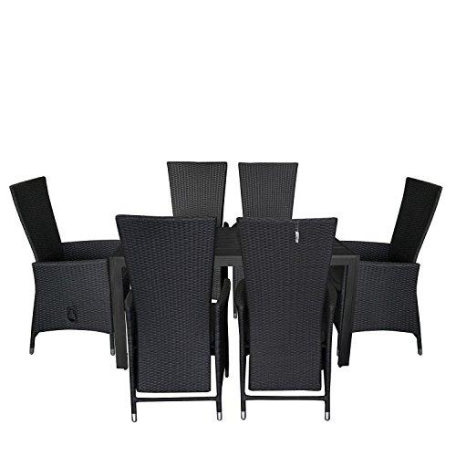 7tlg. Gartengarnitur Aluminium verstellbarer Poly Rattansessel Gartentisch mit schwarzer Polywood Tischplatte150x90cm Sitzgruppe Sitzgarnitur Balkonmöbel Terrassenmöbel Set