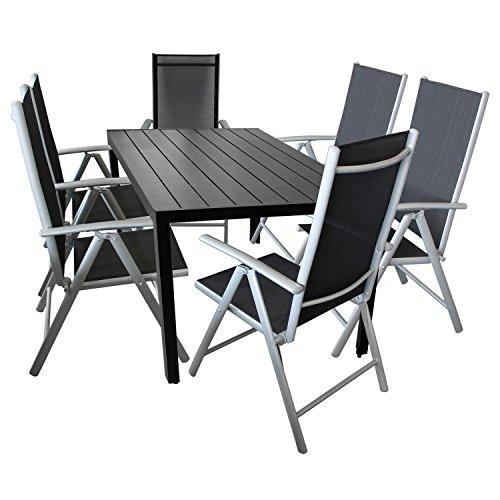 7tlg. Gartengarnitur Gartentisch Aluminium Polywood 150x90cm + 6x Hochlehner Klappstuhl Textilenbespannung Gartenmöbel