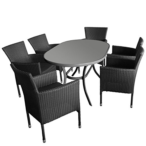 7tlg. Gartengarnitur Gartentisch, Aluminiumrahmen, Tischglasplatte geriffelt, oval, 140x90cm + 6x Gartensessel, stapelbar, Polyrattan, inkl Polster