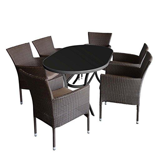 7tlg. Gartengarnitur Gartentisch Aluminiumrahmen Glasplatte schwarz, 140x90cm + 6x stapelbare Gartensessel Polyrattan braun-meliert + Sitzkissen braun