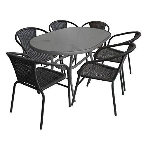 7tlg. Gartenmöbel Set Gartengarnitur Sitzgruppe Aluminium Glastisch 140x90cm oval Terrassenmöbel Bistrostuhl Stapelstuhl Rattanbespannung Sitzgarnitur