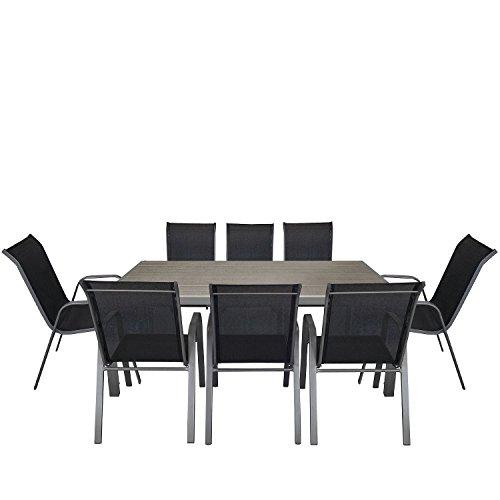 Multistore 2002 9tlg. Gartengarnitur Aluminium Polywood Gartentisch 205x90cm + stapelbarer Gartenstuhl Stapelstuhl mit…