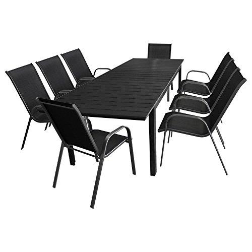 9tlg. Gartengarnitur Sitzgruppe Terrassenmöbel Gartenmöbel Set - Gartentisch, Polywood-Tischplatte schwarz, ausziehbar, 200/250/300x95cm + 8x Stapelstuhl, Textilenbespannung, Anthrazit/Schwarz