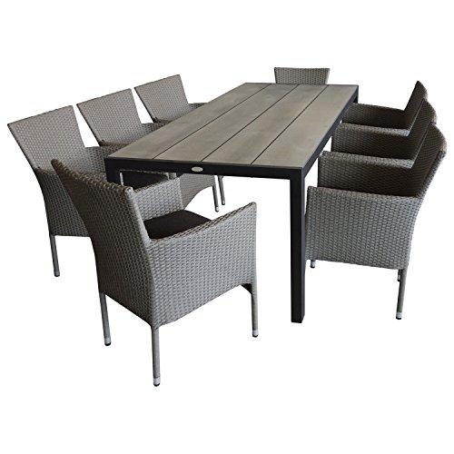 Multistore 2002 9tlg. Gartengarnitur Gartentisch, 205x90cm, Polywood-Tischplatte silbergrau + 8x Gartensessel, Poly Rattan, stapelbar, grau-meliert, inkl. Kissen