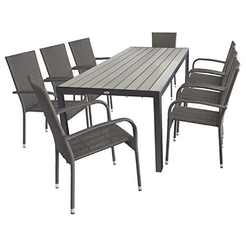 9tlg. Gartengarnitur Terrassenmöbel Gartenmöbel Set Sitzgruppe - Gartentisch, Aluminiumgestell, Polywood-Tischplatte, 205x90cm + 8x Gartenstuhl, Polyrattanbespannung, stapelbar, grau-meliert