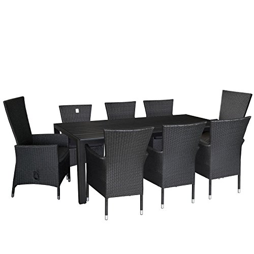 9tlg gartengarnitur terrassenmbel set aluminium polywood tisch 205x90cm poly rattan sessel 6x. Black Bedroom Furniture Sets. Home Design Ideas