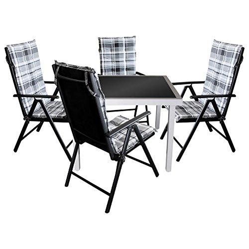 9tlg. Gartenmöbel Balkonmöbel Set Sitzgarnitur Gartengarnitur - Gartentisch, 90x90cm, schwarze undurchsichtige Tischglasplatte, Aluminiumgestell + 4x Gartenstuhl, Textilenbespannung, 7-fach verstellbare Lehne + 4x Sitzauflage