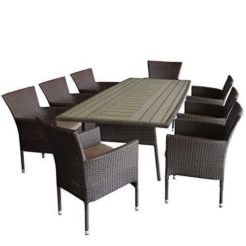 9tlg gartenm bel set gartentisch polywood tischplatte mit k hlfach aluminiumrahmen 208x110cm. Black Bedroom Furniture Sets. Home Design Ideas