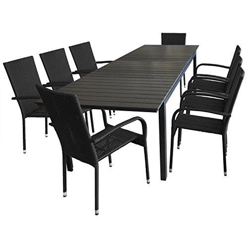 9tlg. Gartenmöbel Set Sitzgarnitur Gartengarnitur Sitzgruppe Terrassenmöbel - Ausziehtisch, 280/220x95cm, Polywood-Tischplatte, schwarz + 8x Polyrattan Gartenstuhl, stapelbar, schwarz