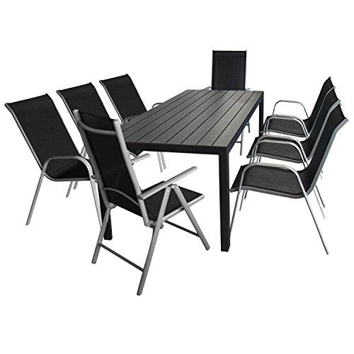 9tlg. Gartenmöbel - Gartentisch, Polywood-Tischplatte, 205x90cm + 6x Stapelstuhl, Textilenbespannung + 2x Hochlehner, klappbar, 7-fach verstellbar