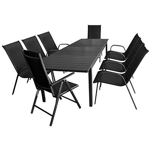 9tlg. Sitzgarnitur Gartentisch ausziehbar mit Polywood Tischplatte 280/220x95cm + 6x Stapelstuhl + 2x Hochlehner, Lehne 7-fach verstellbar / Sitzgruppe Gartengarnitur Gartenmöbel Terrassenmöbel Set