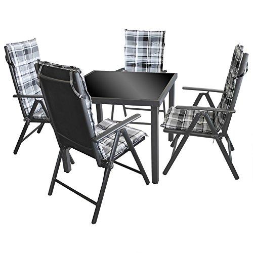 9tlg. Sitzgruppe Gartengarnitur Gartenmöbel Balkonmöbel Set Sitzgarnitur - Gartentisch, 90x90cm, schwarze undurchsichtige Tischglasplatte, Aluminiumgestell + 4x Klappstuhl, Textilenbespannung, 7-fach verstellbare Lehne + 4x Sitzauflage