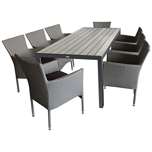 9tlg sitzgruppe gartengarnitur gartenm bel terrassenm bel set gartentisch 205x90cm polywood. Black Bedroom Furniture Sets. Home Design Ideas