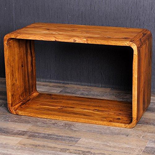 Cube LALITA Stone-A 80x50cm Massivholz Akazie Couchtisch Beistelltisch Wandregal
