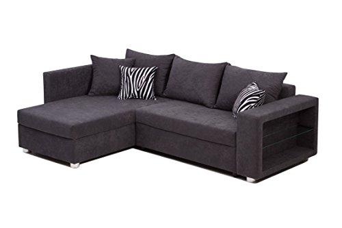 b famous 100590 passau polsterecke ecksofa 162 x 226 x 85 cm microvelour anthrazit mit zebra. Black Bedroom Furniture Sets. Home Design Ideas