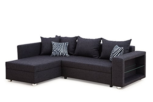 b famous 100606 passau polsterecke ecksofa 162 x 226 x 85 cm strukturstoff anthrazit mit zebra. Black Bedroom Furniture Sets. Home Design Ideas