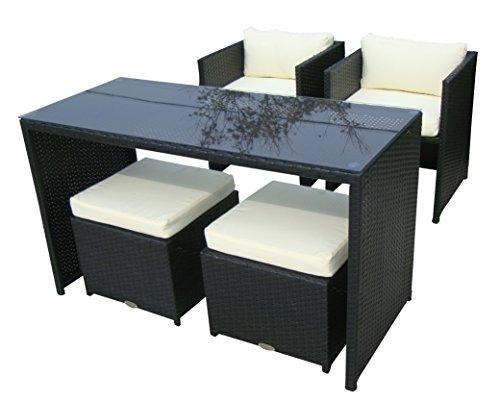 Baidani 10d00012.00001 Sitzgruppe Vision, Rattan, 5-teilig, schwarz