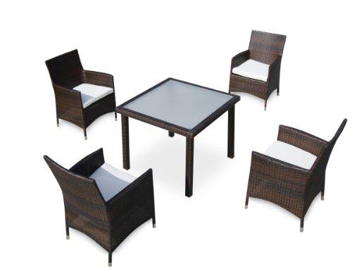 Baidani 10d00015.00002 Designer Lounge-Essgruppe Evolution, 1 Tisch mit Glasplatte, 4 Sessel Sitzauflagen, braun