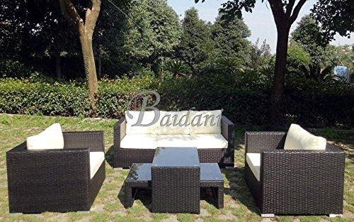 Baidani Westside Rattan Lounge-Garnitur, Schwarz, 131x87x81 cm