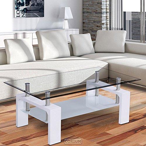 corium couchtisch wohnzimmertisch 100 x 50 x 58 cm glassplatte weiss tisch glastisch. Black Bedroom Furniture Sets. Home Design Ideas