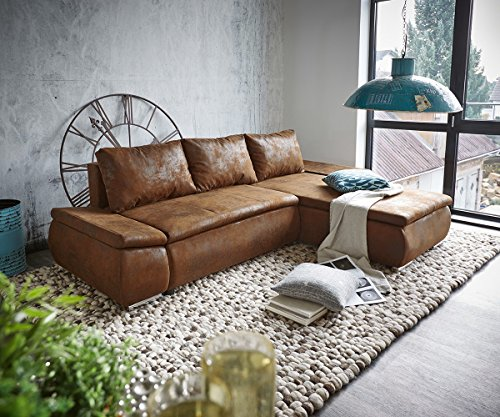 Couch Abilene Braun 260x175 mit Bettfunktion Ottomane variabel Ecksofa