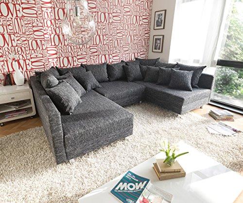 Sofa Clovis erweiterbares Modulsofa Eckcouch Wohnlandschaft (Sofa mit Hocker, Schwarz)