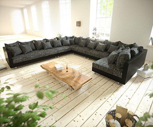 sofa clovis erweiterbares modulsofa eckcouch wohnlandschaft sofa xxl links schwarz schwarz. Black Bedroom Furniture Sets. Home Design Ideas