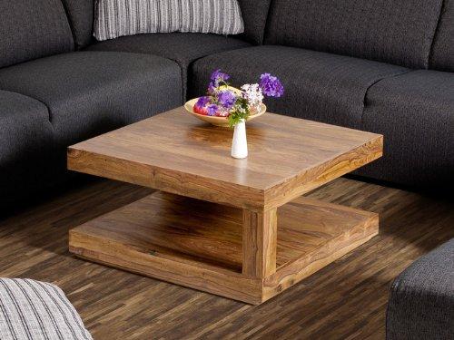 Couchtisch Wohnzimmertisch Tisch Palisander Massivholz 75x75 cm Massivholztisch