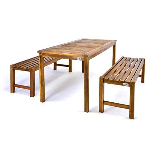 Divero Gartenmöbelset Picknickset Akazienholz Bank Tisch massiv Holz 2 Bänke 1 Tisch 3-teilig