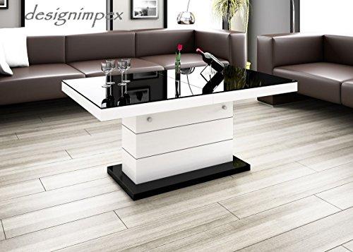 Design Couchtisch H-333 Weiß / Schwarz Hochglanz höhenverstellbar ausziehbar Tisch Wohnzimmertisch
