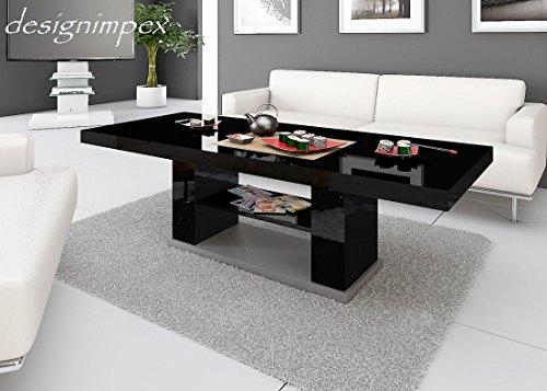 Design Couchtisch HN-777 Schwarz - Grau Hochglanz höhenverstellbar ausziehbar Tisch